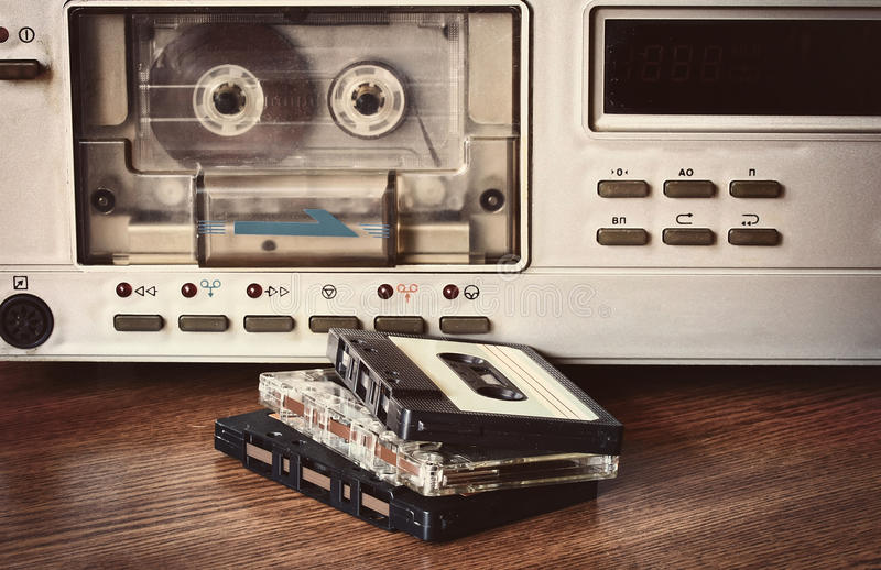 Old cassette recorder royalty free stock photos