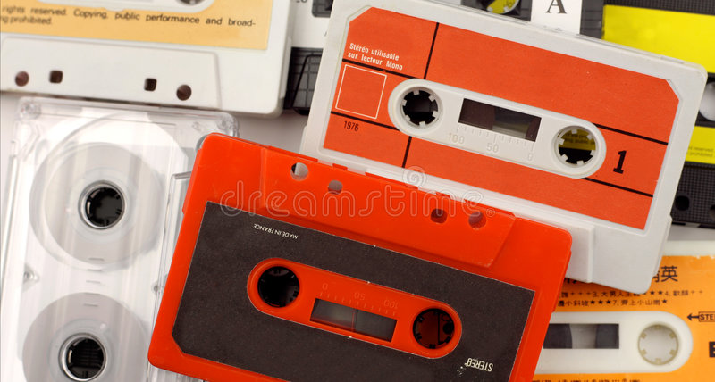 Old cassettes stock photography