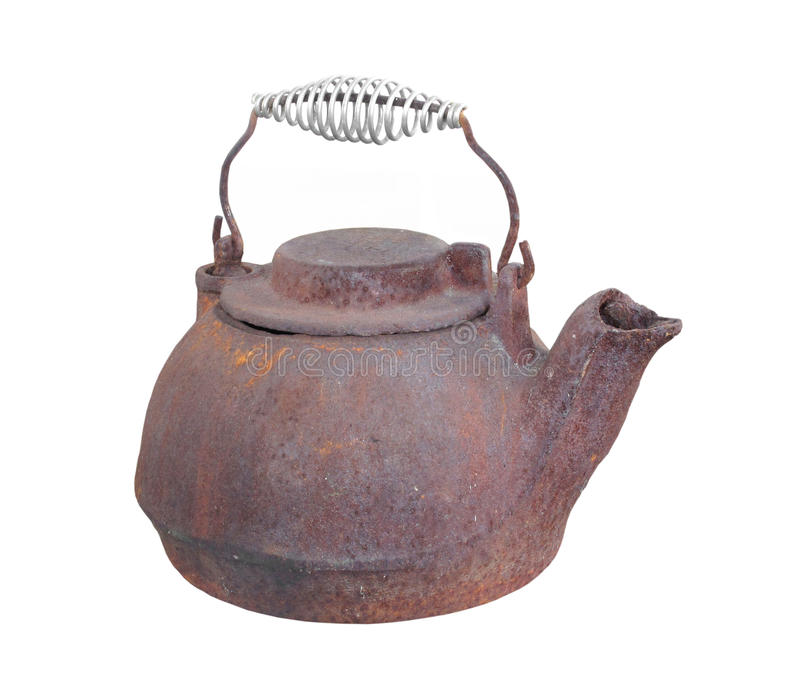 Old cast iron kettle isolated. Old, worn, and rusty cast iron teakettle with lid, spout, and handle. Isolated on white stock photos