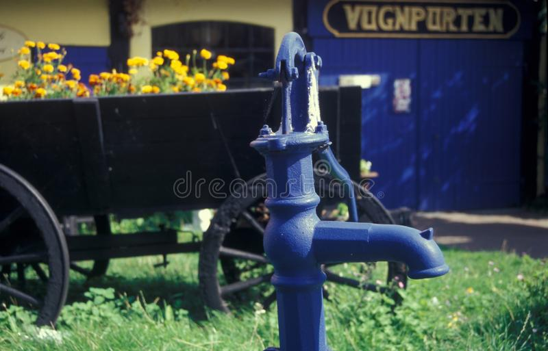 Old cast iron water pump, Bornholm in Denmark stock image