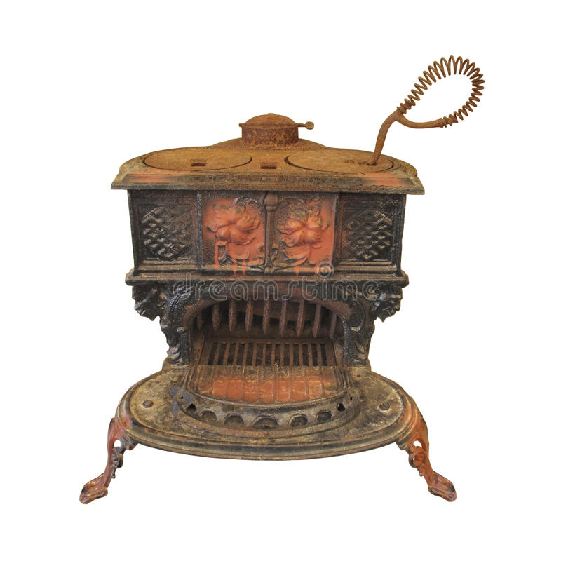 Free Old Cast Iron Wood Cook Stove Isolated. Stock Images - 25703474