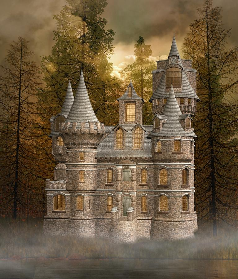 Old castle in the autumnal forest stock illustration