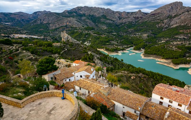 Old castle build in 11th century in Guadalest Spain stock photography