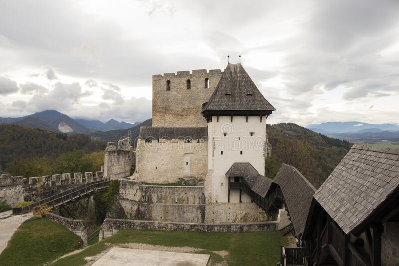 Old castle in Celje, Slovenia. Historic old castle in Celje, Slovenia. Ruins of one of the most famous castle in Slovenian city Celje. View of the ruins of the royalty free stock photography