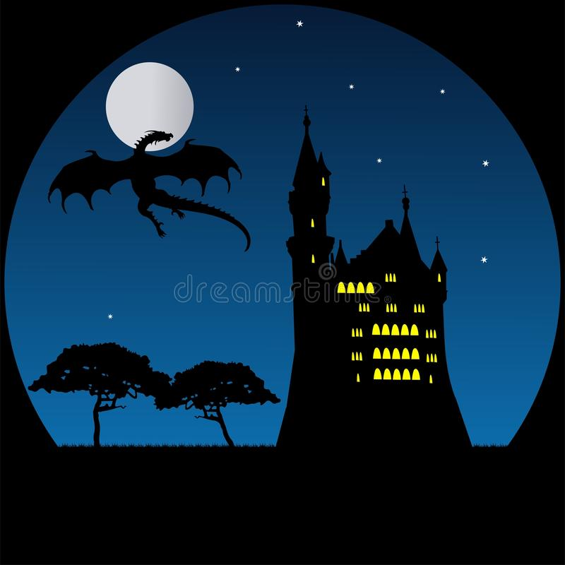 Old castle and dragon in moonlight royalty free stock images