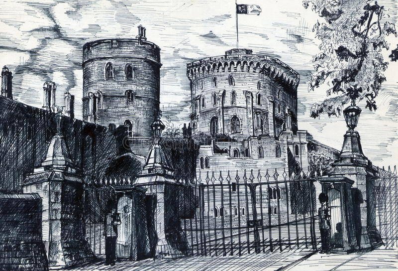 Old Castle in England stock illustration