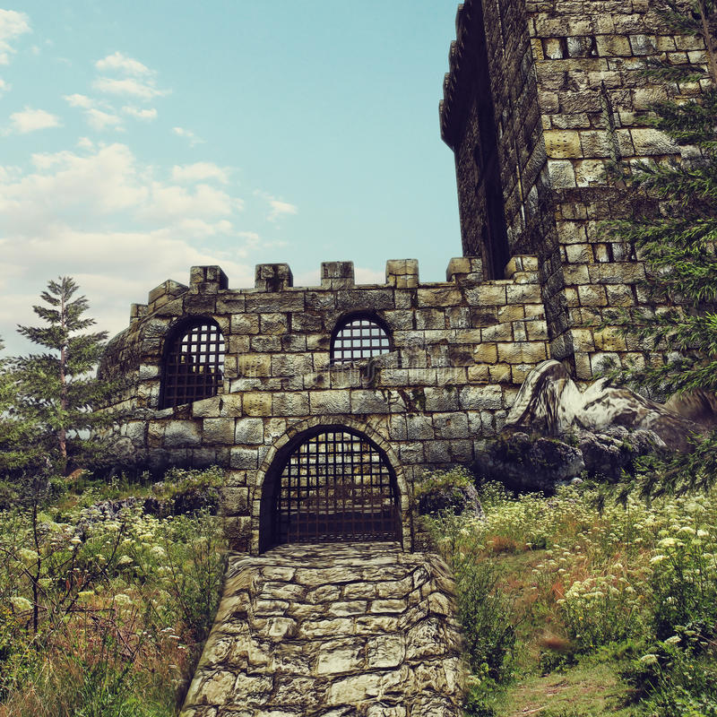 Old castle gate. Gate to an old stone castle on a meadow vector illustration