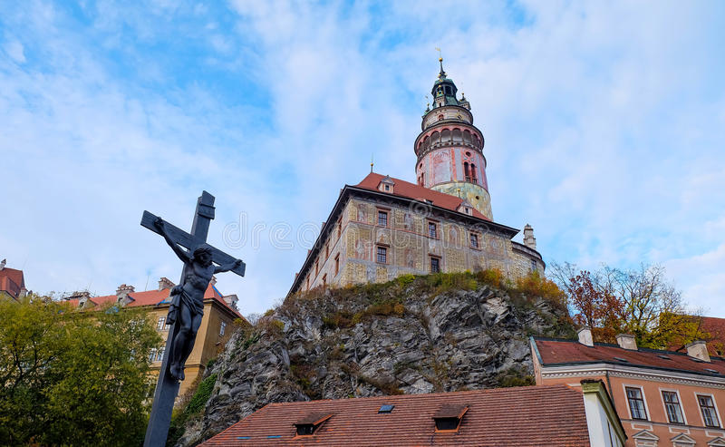 Old castle on the hill, Cesky Krumlov royalty free stock image