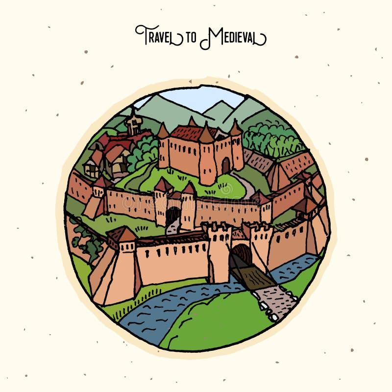 Old castle illustration. Stylized hand drawn illustration of an old european castle stock illustration