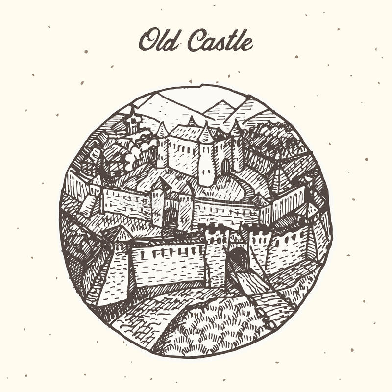 Old castle illustration. Stylized hand drawn illustration of an old european castle vector illustration