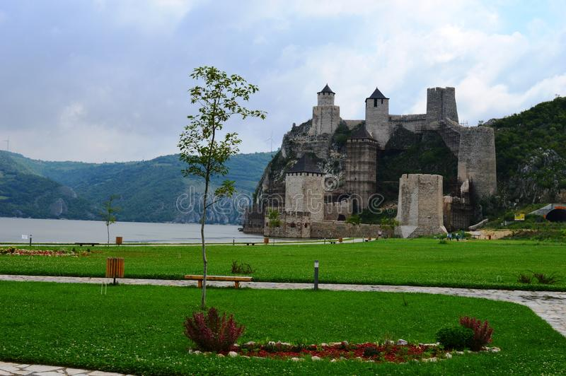 Old castle by the lake. One old castle by the lake stock photography
