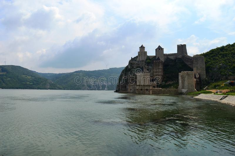 Old castle by the lake. One old castle by the lake royalty free stock photo