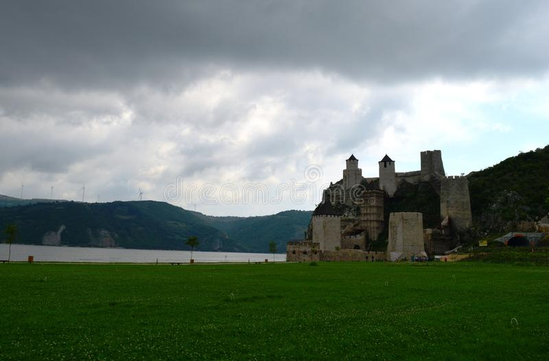 Old castle by the lake. One old castle by the lake royalty free stock images