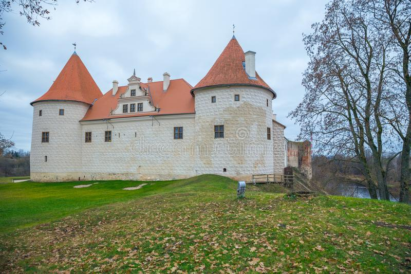 Old castle in Latvia, Bauska, 2017 April. Travel photo at autumn time stock photography