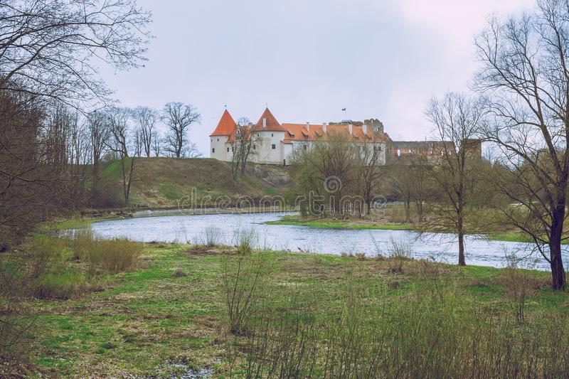 Old castle in Latvia, Bauska, 2017 April. Travel photo at autumn time royalty free stock photo