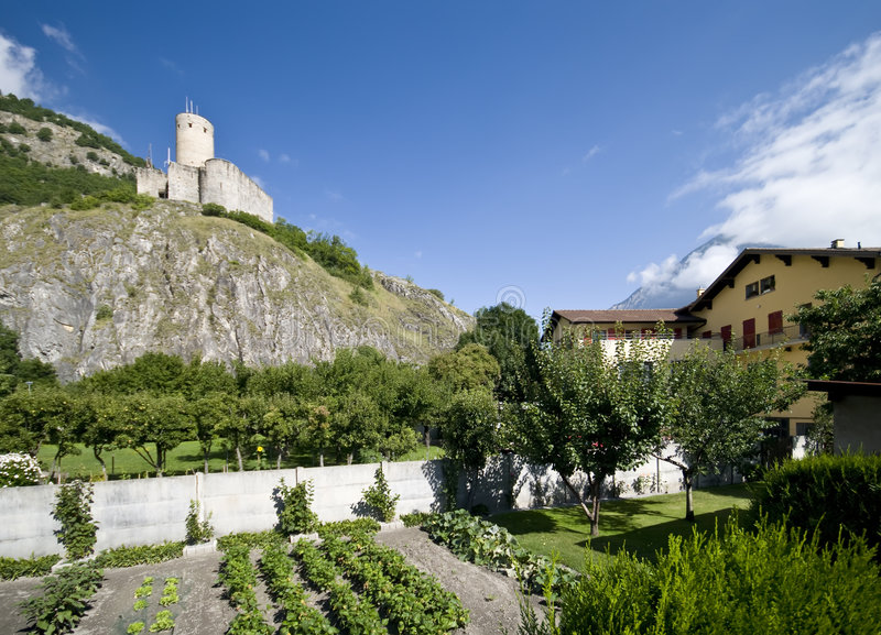Download Old castle of Martigny stock photo. Image of hilltop, mountain - 6030556