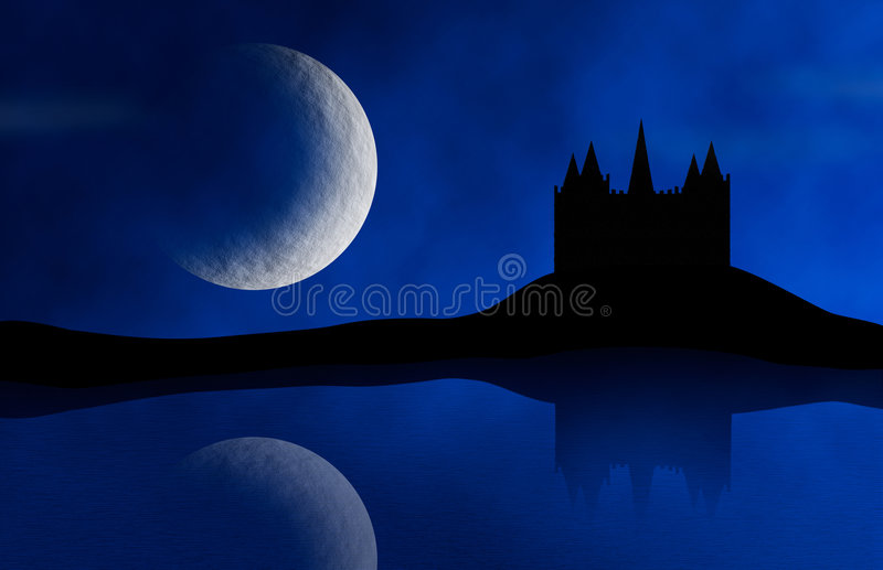 Old Castle and Moon vector illustration
