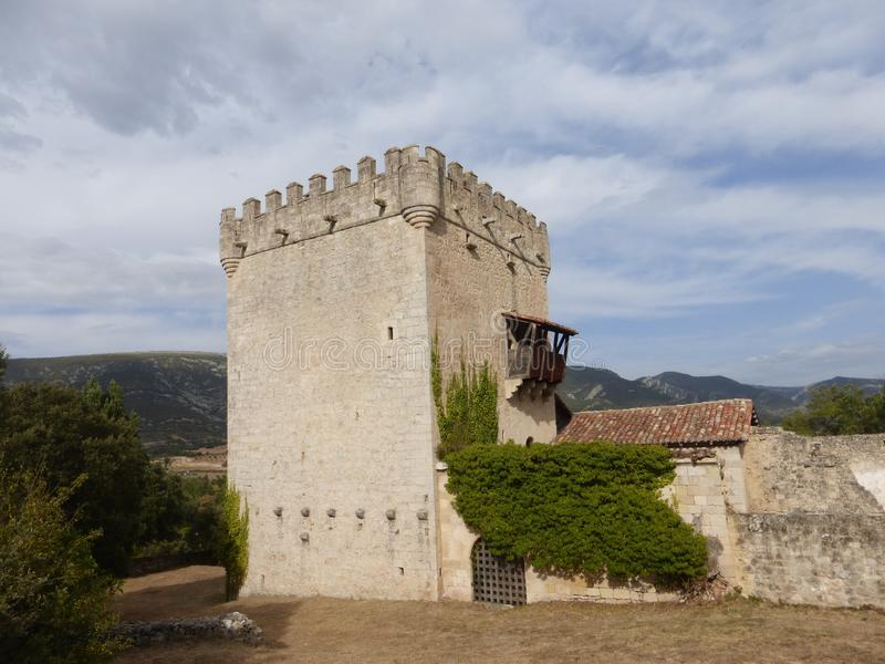 OLD DEFENSIVE TOWER IN QUINTANA DE VALDIVIELSO, BURGOS. OLD CASTLE IN QUINTANA DE VALDIVIELSO, BURGOS, SPAIN stock photos