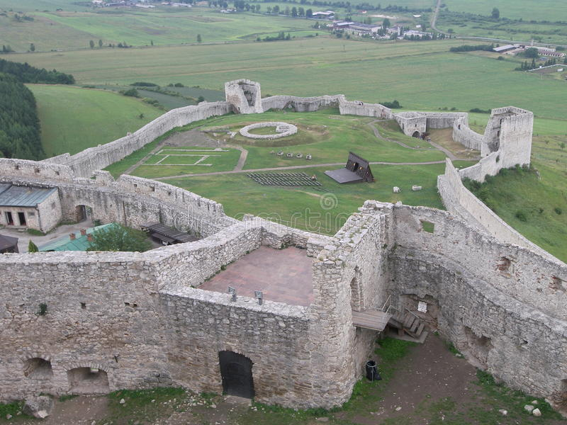 Old castle ruins from above stock photo