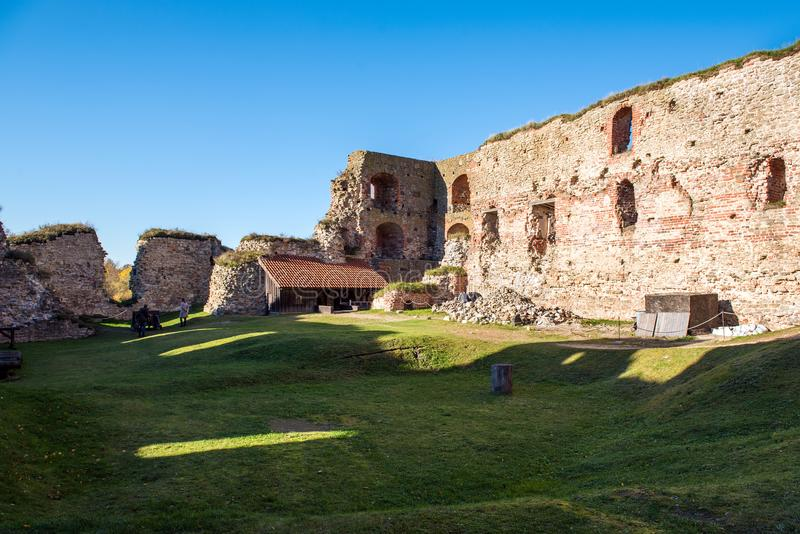 Old castle ruins of Bauska town, Latvia.  stock image