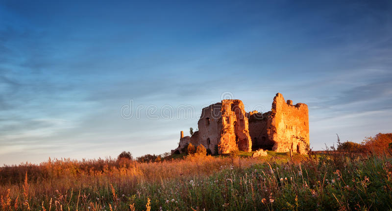 Old castle ruins in sunset light royalty free stock image