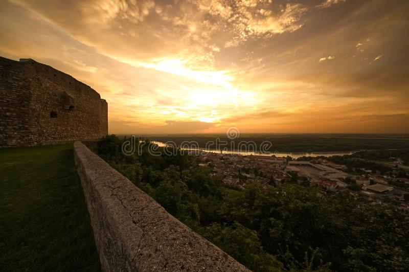 Old castle ruins sunset stock images