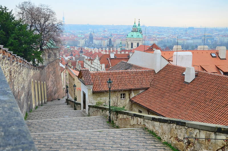 Old Castle Stairs. Lead out of Lesser Town's Street Pod Bruskou into area which is roughly called Na Opyse and then to eastern gate of the Prague Castle stock image