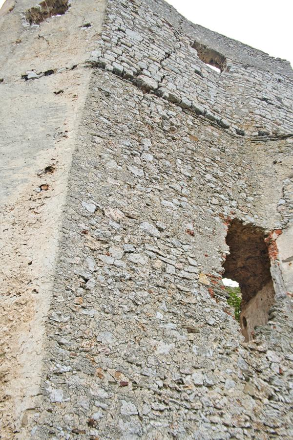 an old castle wall with a hole royalty free stock photography
