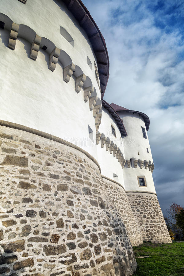 Old castle walls. Defence walls and towers of the ancient castle in Zagorje, Croatia stock photo