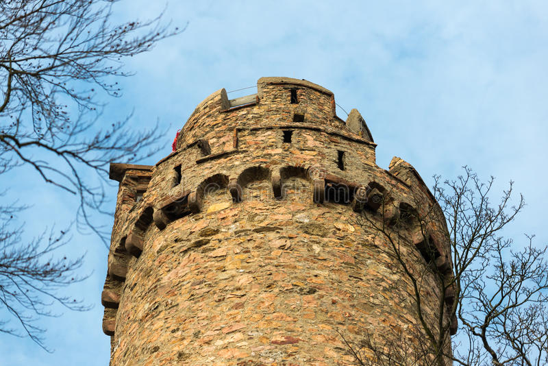 Old castle watch tower. Round watch tower of the Auerbach castle in central Germany royalty free stock photos