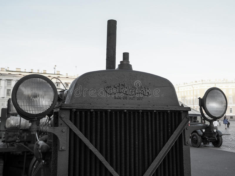 Old Caterpillar tractor. Vintage. Russia. Saint-Petersburg. The summer of 2017. A rare collectible car. stock photography