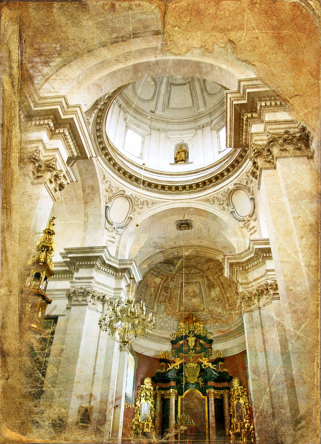 Old cathedral. Inside old catholic cathedral - picture in retro style royalty free stock photos