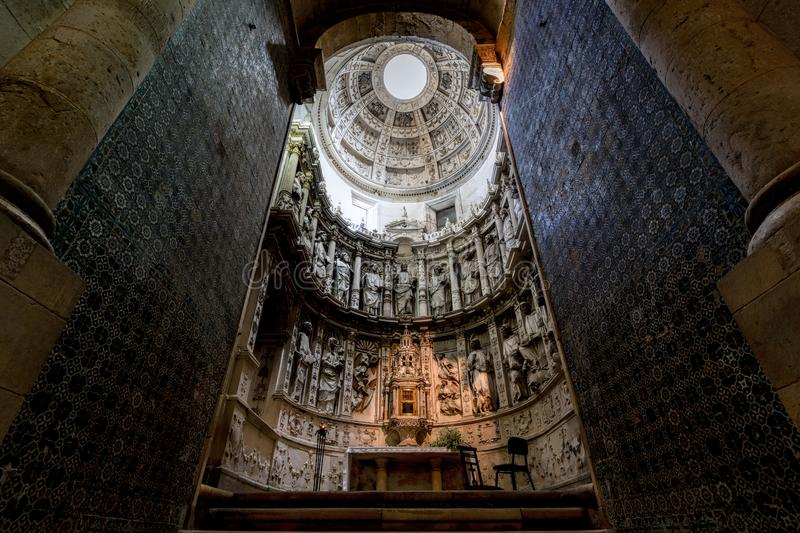 The Old Cathedral of Coimbra. Interior of the Old Cathedral of Coimbra, a.k.a. Se Velha, a Romanesque Roman Catholic building, started in 12th century stock photo