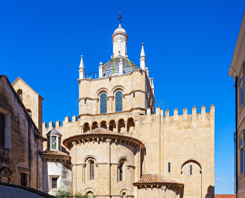 Old Cathedral, Coimbra. The Old Cathedral of Coimbra is one of the most important Romanesque Roman Catholic buildings in Portugal stock photos