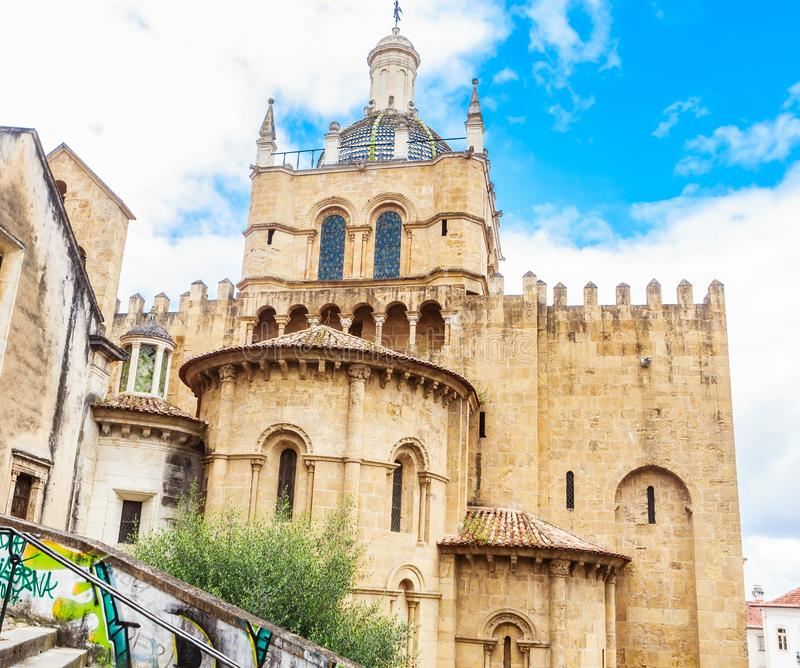 the Old Cathedral of Coimbra, Portugal stock image