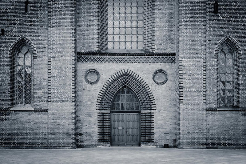 Old cathedral entrance - Odense, Denmark royalty free stock photo
