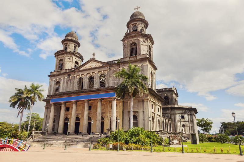 Old Cathedral of Managua. Managua, Nicaragua royalty free stock images