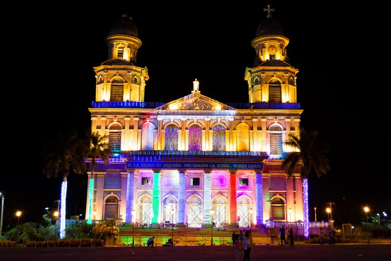 Old Cathedral of Managua, Nicaragua stock images