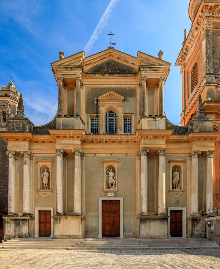Old cathedral in Menton on the French Riviera. Old cathedral Basilica Saint Michel in a town of Menton in the French Riviera royalty free stock photo