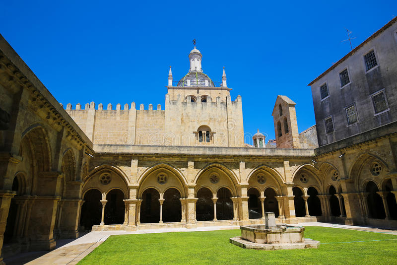 Old Cathedral or Se Velha of Coimbra, Portugal. Famous Romanesque Old Cathedral or Se Velha (12th Century) of Coimbra, Portugal royalty free stock photos
