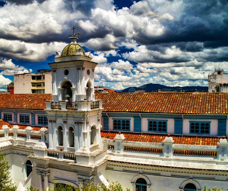 Aerial View of Old Cathedral in Heart of Cuenca. The Old Cathedral was the principle Catholic church in Cuenca between 1567 and 1975, when it was replaced by the royalty free stock image
