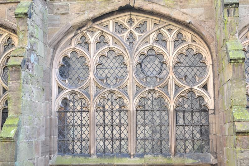 Old cathedral window. Old rustic classic style cathedral window in Hereford, England royalty free stock photo
