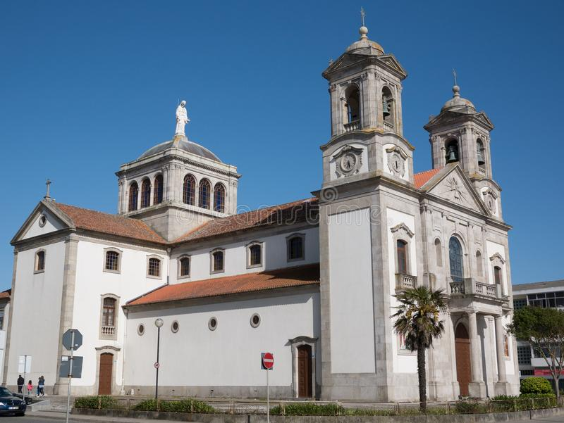 Traditional old Catholic Church in Povoa de Varzim, Porto, Portugal stock photography