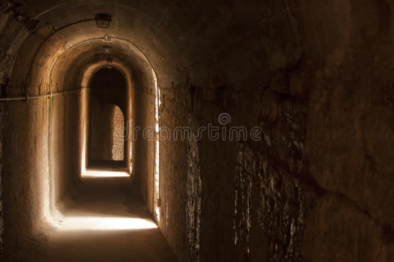 Old catwalk in Roman theater royalty free stock photography