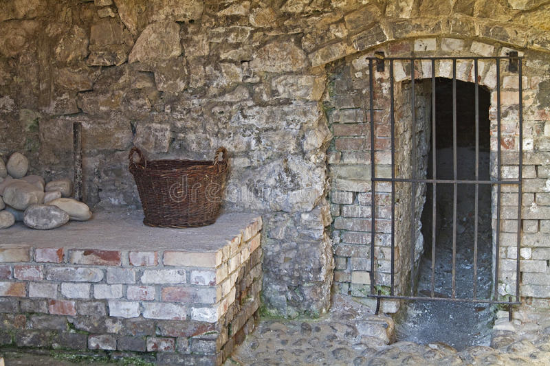Old cellar. Old wall in a disused lime kiln in Upper Bavaria royalty free stock photo
