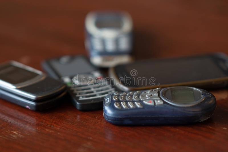 Old Cellular telephones. Rome, Italy - September 2, 2018: Old Cellular telephones. Selective focus stock photo