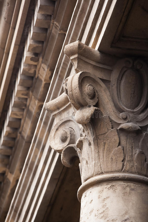 Old cement column topper stock image