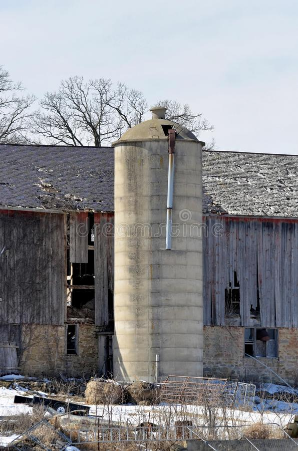 Old silo in southern wisconsin. Old cement silo in southern Wisconsin stock image