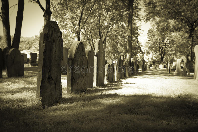 Old Cemeteries - Row of Tombstones royalty free stock image
