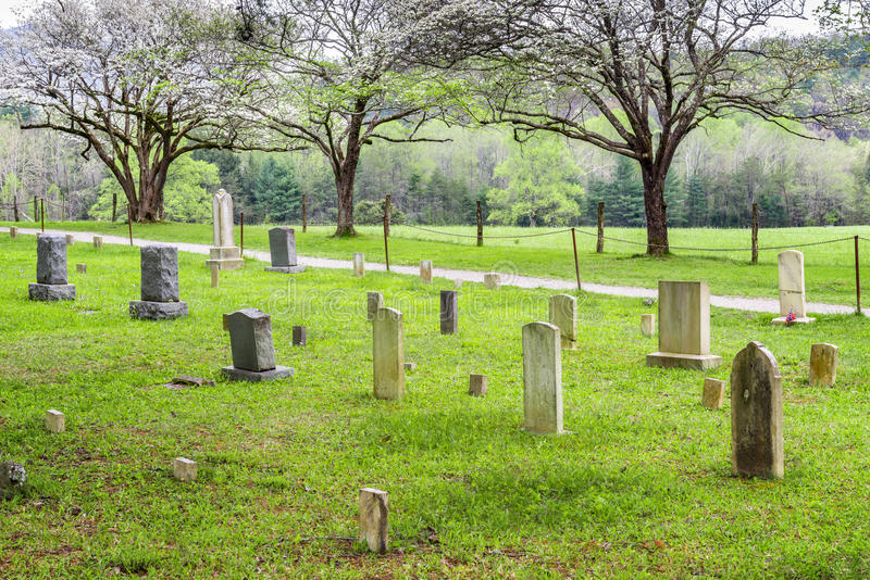 An old cemetery in the Cades Cove in the Great Smoky Mountains National Park stock photos